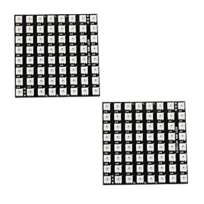 2PCS 8x8 64 RGB LED Matrix WS2812 LED Full Color 5050 Lights with Integrated Drivers for Arduino Raspberry Pi Nodemcu