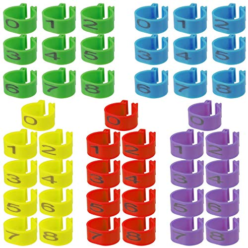 ANCIRS 45PCS 16mm Chicken Identification Leg Bands, Number 0-8 Foot Round Tag Clips for Gamefowl Turkey Duck Goose Guinea (Multi-Color)