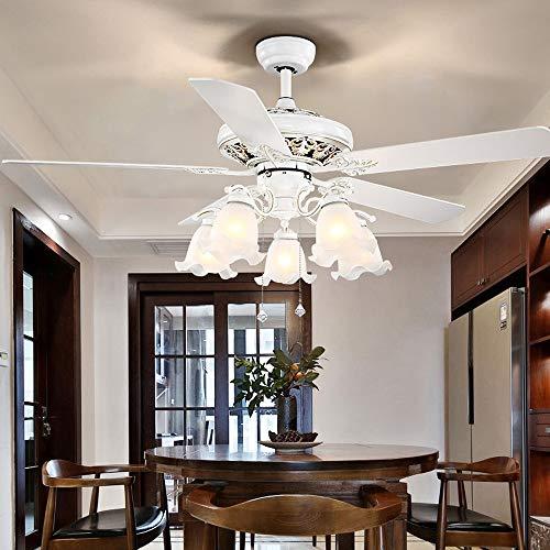 MDSQ Ventilador de Estilo Europeo Comedor Sala de Estar Ambiente Sencillo silencioso Nordic Blanco Ventilador eléctrico luz hogar con Ventilador araña
