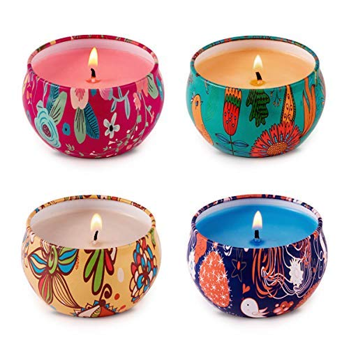 HITHYS Strong Scented Candles Set for Women Rose Jasmine, Orange, Coffee and Seasalt Lilac, Natural Soy Wax Travel Tin Candles for Party Home Decor, 4Pack