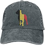 XCVNBX Patriotic Pitbull Belgium Flag Men's Women's Cotton Dad Hat Adjustable Jeans Baseball Hat