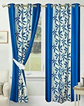 Soulful Creations Polyester Curtains for Door 7 feet, 2 Piece, Aqua (1, 7 Feet)