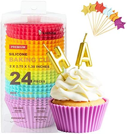 Katbite Silicone Cupcake Baking Cups 24 Pack Heavy Duty Silicone Baking Cups Reusable Non stick product image