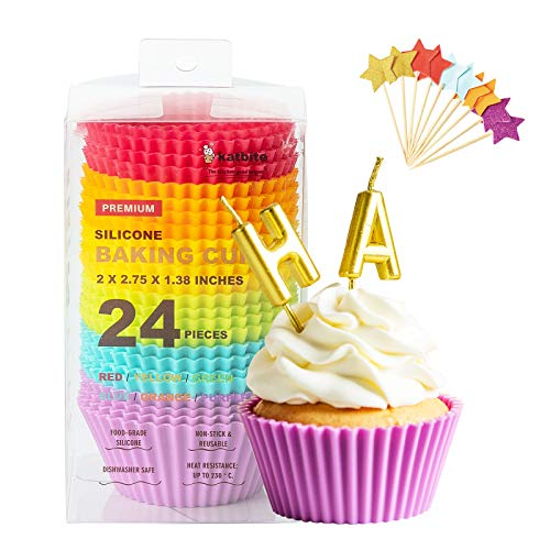 Katbite Silicone Cupcake Baking Cups 24 Pack, Heavy Duty Silicone Baking Cups, Reusable & Non-stick Muffin Cupcake Liners for Party Halloween Christmas with 10Pcs Stars Decorations