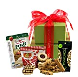 Merry Christmas Gift Basket - Gluten Free Holiday Gift Tower with Gourmet Biscotti, Cookies, Sweets, Fruit & Nuts [Small] Xmas Tower Gifts by Gluten Free Palace