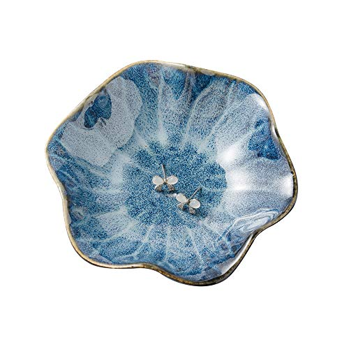 KIMRAMIC ring holder,flower shape decorative earring stand ,jewelry tray,key bowl,trinket dish for women birthday gifts,great gifts for friends,flower blue