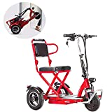 HXJZJ 3-Wheel Foldable Electric Mobility Scooter, Power Scooter, 350w Motor,Removable Battery, Foldable, Reversible