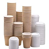 100 X 12oz / 360ml Kraft Triple Walled Disposable Paper Ripple <span class='highlight'>Cups</span> Disposable <span class='highlight'>Coffee</span> Tea <span class='highlight'>Cups</span> Disposable Hot Drink <span class='highlight'>Cups</span>   LIDS Completely Free