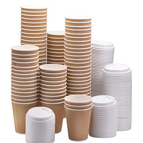 HOT BARGAINS 100 X Kraft triple walled disposable paper ripple cups + LIDS FOR FREE, 8oz, 10oz, 12oz, 16oz (8OZ)