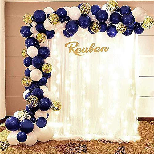 XINX 109Pcs Navy Blue Night Birthday Party Decorations Blue Balloon Combo Package Include 15PCS 12 Inch Sequin Gold Balloons 40PCS 10 Inch Navy Blue Balloons