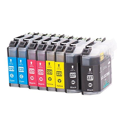 8 Cartuchos de tinta compatibles para Brother LC227XL / LC225XL con chip para Brother DCP-J4120DW / MFC-J4420DW / MFC-J4620DW / MFC-J4625DW / MFC-J4425DW / MFC-J5320DW / MFC-J5620DW / MFC-J5625DW / MFC-J5720DW