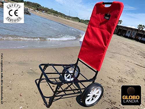GLOBOLANDIA Carrello con Ruote Rosso Trolley Spiaggia Mare Pieghevole Beach Carrellino Porta Ombrellone Oggetti Giardino