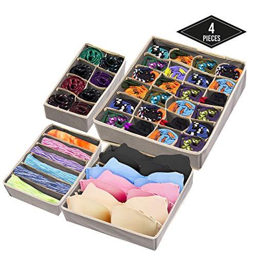 4 Stück Aufbewahrungsboxen, Schubladenteiler, Schubladeneinsätze für Kleiderschränke Schubladen Kommode Wandschrank| Faltbare & Robuste| Organizer für Unterwäsche Bh Socken Krawatten Schals.