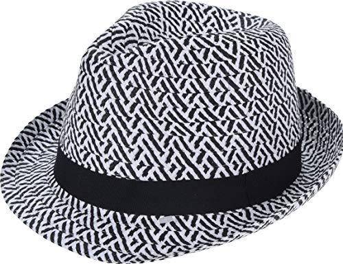 Koop Homewares Cappelli da uomo/donna nero e bianco nastro Zig Zag Party Beach Hat (nastro nero)