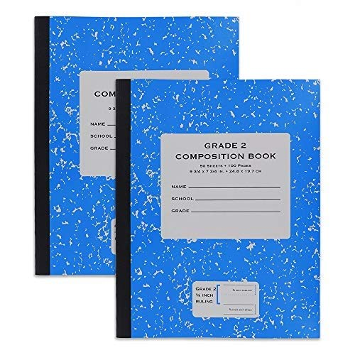 Emraw Grade 2 Composition Book Meeting Notebook Wide Ruled Paper 40 Sheets Office Hard Cover Dairy Journal School Writing Book Assorted Colors (Pack of 12)