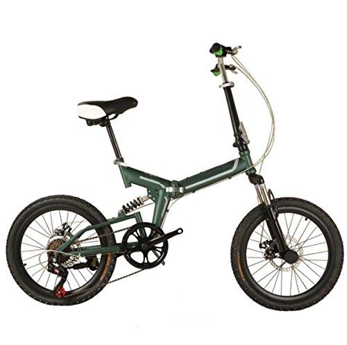 Bicicleta Bicicleta Plegable De 20 Pulgadas Para Niños Adultos Bicicleta De Aluminio De Gama Alta Bicicleta Plegable Mini Bicicleta Estudiante,Green-20in