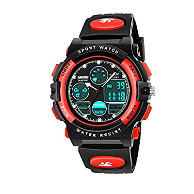HODO Birthday Gifts for 6-15 Year Old Boys, Sports Digital Wrist Analog Watch for Kids Outdoor Toys for 6-15 Year Old Boys Popular Gifts for Teen Year Old Boys HDUSWC04 (Red)