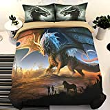3D Dragon Duvet Cover Queen Cartoon Dragon with Wings Comforter Cover with 2 Pillowcases, Microfiber Bedding Set with Zipper Closure Queen Size 90' x 90'(Not Comforter)