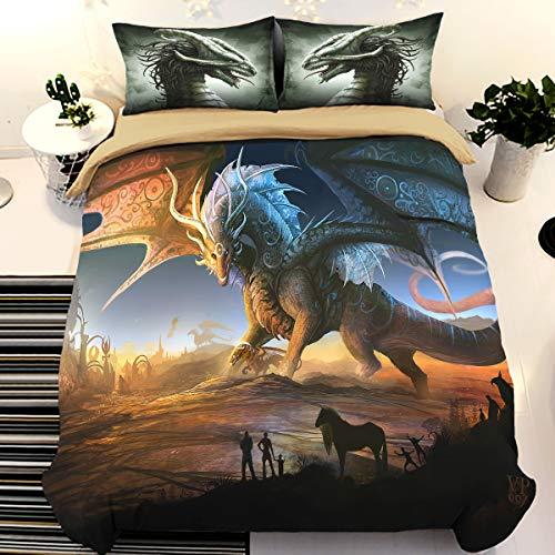 Juego de cama de dragón impreso en 3D para niños, funda de edredón de dragón de alas de dibujos animados con 1 fundas de almohada, funda de edredón de microfibra tamaño único 135*200 cm (sin edredón)