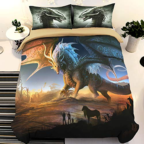 WONGS BEDDING 3D Printed Dragon Beding Set for Kids Children,Cartoon Wings Dragon Duvet Cover with 1 Pillowcases,Anti-Allergic Microfiber Quilt Cover Single Size 135x200cm(No Comforter)