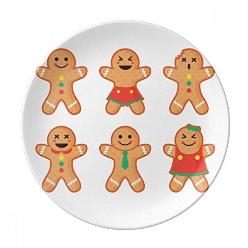 DIYthinker inizio regalo cena pan di zenzero gli uomini di natale in porcellana decorativo piatto di dessert da 8 pollici Diametro di 21 cm
