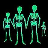 4 Pcs Halloween Luminous Skeleton Decorations, Glow in the Dark Luminous Skeleton Full Body Halloween Skeleton Poseable Joints Skeletons for Halloween Party Haunted House Yard Garden (30/90/150CM)