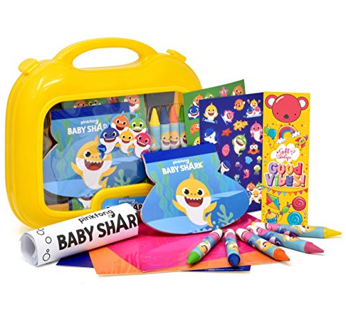 Gift Boutique Baby Shark Coloring Case Art Set, Jumbo Crayons, Mess Free Color Activities, Stickers, Doodle Pad, Crafts, Bookmark for Kids Toddlers Girls and Boys