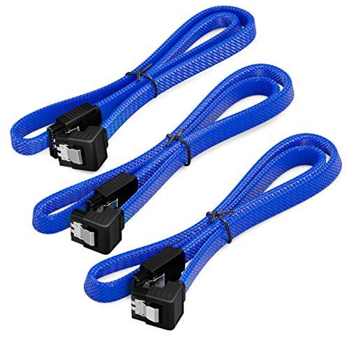 deleyCON 3X 50cm SATA 3 Nylon Kabel Set Datenkabel 6 Gbit/s Anschlusskabel Verbindungskabel Mainboard HDD SSD Festplatte 1 S-ATA Stecker 90° Gewinkelt Blau
