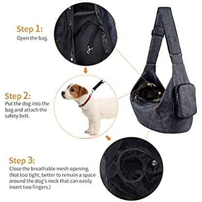 Petacc Dog Carrier Sling Bag Hand Free Pet Puppy Cat Travel Shoulder Carry Bag with Adjustable Strap and Safety Hook for Outdoor Walking Subway (Black) 4