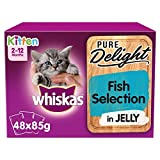 whiskas 2-12mths Kitten Pouches Pure Delight Fish Selection in Jelly 48 x 85g