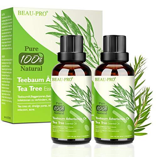 Teebaumöl Tea Tree Oil Anti Pickel Teebaum Öl 2 Pack-100% Pure und Naturrein Essential Akne Öl für Shampoo,Körper und für Akne und Warzen,Gesicht,Kopfhaut und Haare,Diffuser Ätherische Öle [2x 30 ml]