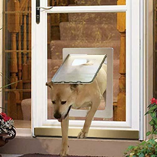 ANQI Haustier-Eingang, Hundetür, Katzenklappe für Katzentür, Fliegengitter für Hundegitter, Löcher, langlebig, sicher, Haustierbedarf, einfache Installation, 37 x 29,5 cm, Weiß
