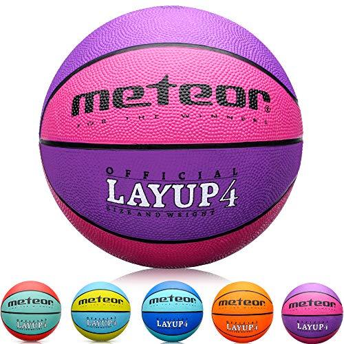 meteor Balón Baloncesto Talla 4 Pelota Basketball Bebe Ball Infantil Niño Balon Basquet - Baloncesto Ideal para los niños y jouvenes para Entrenar y Jugar - Tamaño 4 Layup