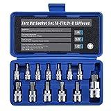 Renekton Torx Star Bit Socket Set,1/2' 3/8' 1/4' Drive,T8 - T70,Cr-V Steel,13 Pieces
