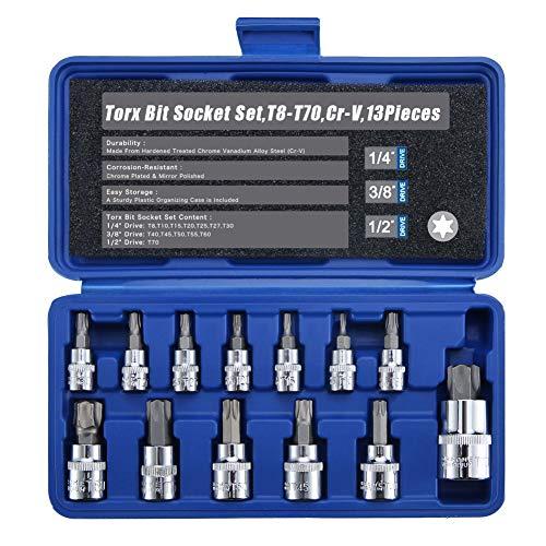 """Renekton Torx Star Bit Socket Set,1/2"""" 3/8"""" 1/4"""" Drive,T8 - T70,Cr-V Steel,13 Pieces"""