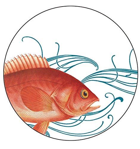 Caskata Studio 4 Count Melamine Tidbit Topper Boxed Plate Set, Fish by Caskata Studio