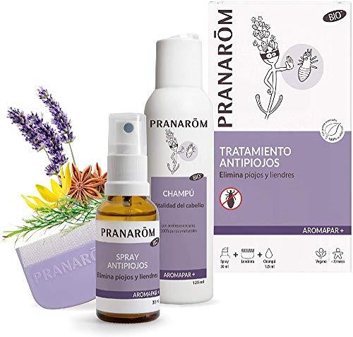 Pranarom - Aromapar+ - Tratamiento Antipiojos - Spray Antipiojos Bio + Champú + Lendrera - 30 + 125 Mililitros, Blanco, 155 Mililitros