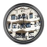 DYCBNESS Reloj de Pared,Woody Architecture España Europa Barcelona Art Panel with Frame Decorativos Silencioso Interior Reloj de Cuarzo Redondo No-Ticking Funciona con Pilas,para decoración del hogar