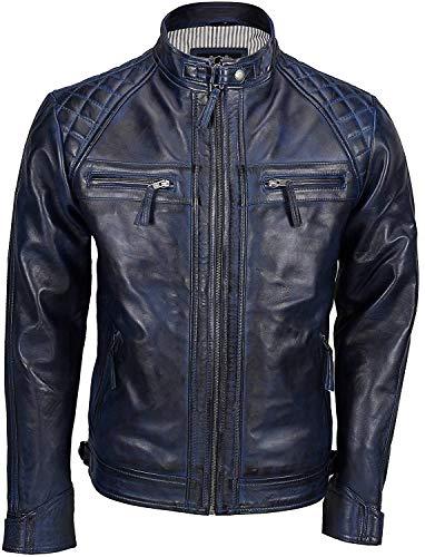 Giacca trapuntata in vera pelle morbida   Giacca da moto antica in pelle da uomo   Giacca in pelle vintage con zip Blu XXL
