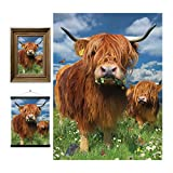 3D LiveLife Lenticular Cuadros Decoración - Vaca escocesa de Deluxebase. Poster 3D sin marco de vacas. Obra de arte original con licencia del reconocido artista, David Penfound