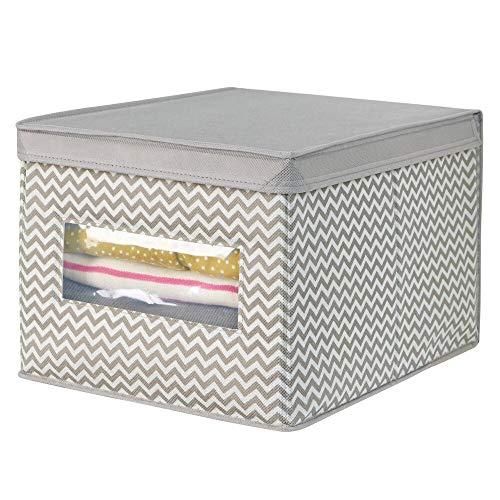 mDesign – Preciosa caja organizadora de tela (grande) – Caja de almacenaje de color gris pardo con tapa y ventana transparente – Organizador de ropa, sábanas, toallas y juguetes