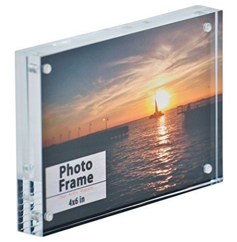 Nicom Clear Acrylic Magnet Frame (1, 4x6) Double Picture Frame Magnet