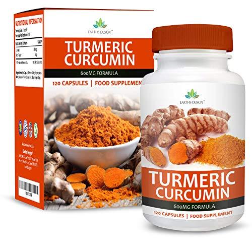 Earths Design Kurkuma Curcumine-extract 600 mg - Curcuma Longa-wortel met zwarte peper, geschikt voor vegetariërs, 120 capsules