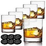 Old Fashioned Whiskey Glasses Set of 6 with Drink Coasters, Vivimee Scotch Glasses 10 oz, Crystal Cocktail Glasses for Men, Bar Whiskey Glass Set for Bourbon, Cognac Brandy, Malt - Rocks Glasses