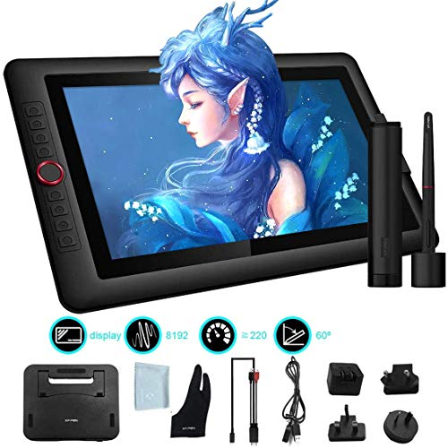 XP-PEN Artist15.6 Pro 15.6 Inch Drawing Monitor Pen Display Graphic Monitor Full-Laminated Graphic Tablet Display with Tilt Function and Red Dial (8192 Levels Levels Pen Pressure, 120% sRGB) Pen