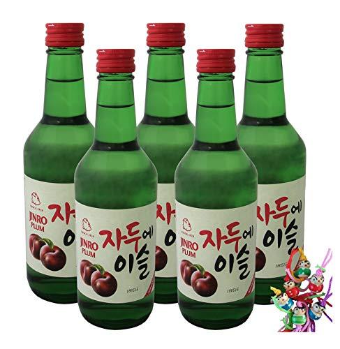 yoaxia ® - 5er Pack - [ 5x 360ml ] HITEJINRO Soju Jinro Plum/Soju mit Pflaumengeschmack Alc. 13% vol. + ein kleines Glückspüppchen - Holzpüppchen