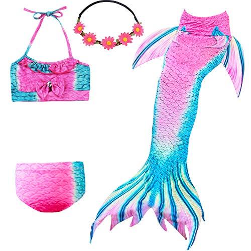 UrbanDesign Traje De Baño Disfraz Cola De Sirena Niña con Bikini para Nadar, 3-4 años, Camelia
