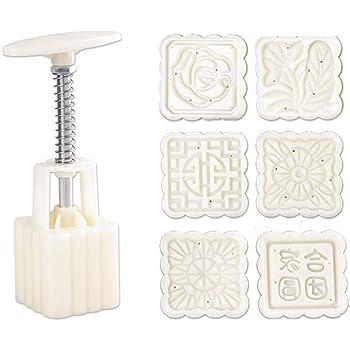NOWON Stampo per Torta lunare da 50 g 6 timbri Stampo per Pasticceria a Pressione a Mano con Canna Quadrata Mooncake