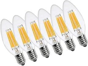 OMAS C35 Candelabra Edison LED Light Bulb E12 Base 6W 2700K Dimmable Light Bulbs Pack of 6