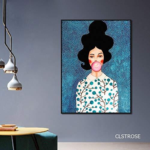sanzangtang Aquarell Nordic Blasen Blasen Mädchen Poster Kunst Leinwand Bild Wohnzimmer Schlafzimmer Zuhause einfache Dekoration rahmenlose 40x60cm
